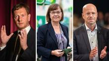 Michael Kretschmer (CDU), Ursula Nonnemacher (Die Grünen) und Andreas Kalbitz (AfD)
