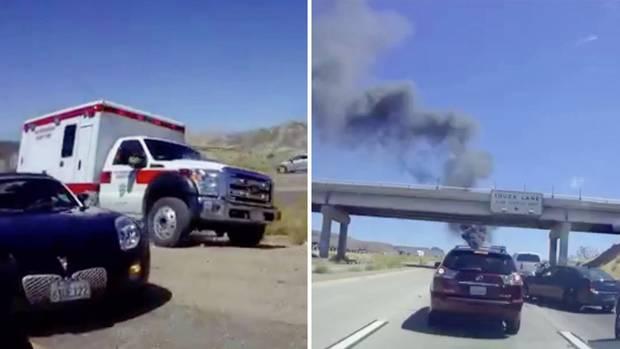 Collage: Krankenwagen, Rauchendes Auto auf der Autobahn