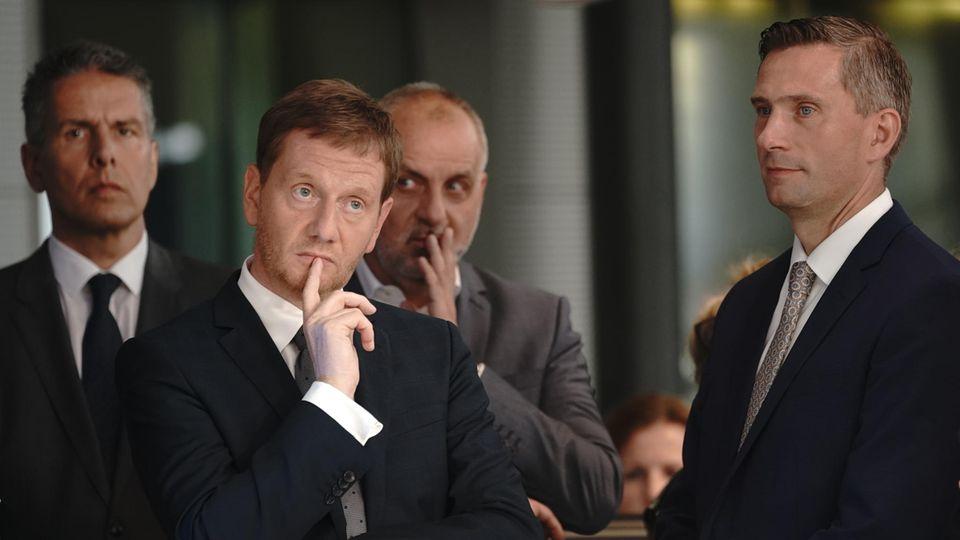 Sachsen Ministerpräsident Michael Kretschmer (CDU) und SPD-Spitzenkandidat Martin Dulig