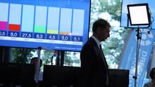 Michael Kretschmer (CDU), Ministerpräsident von Sachsen, während Landtagswahl in Sachsen