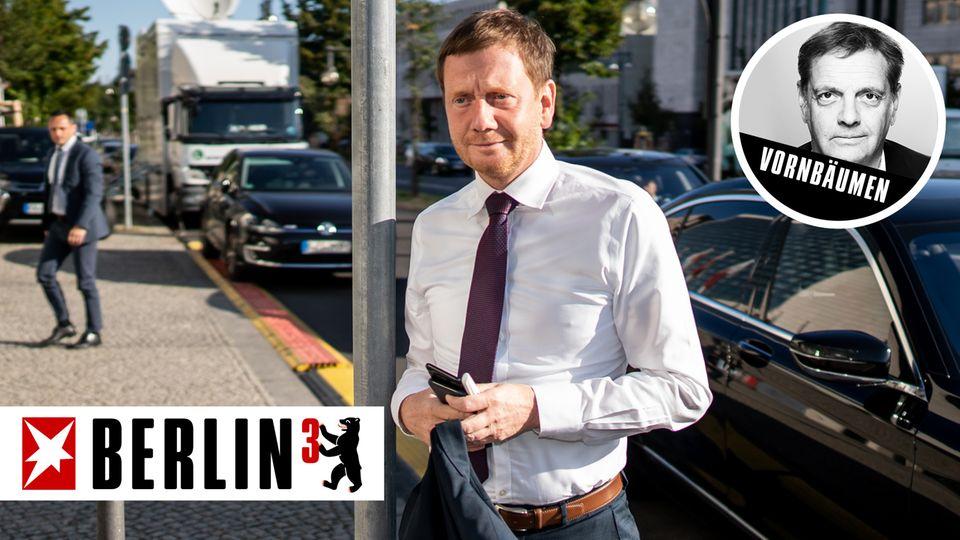 Michael Kretschmer am Montagmorgen nach der Wahl auf dem Weg ins Konrad-Adenauer-Haus in Berlin