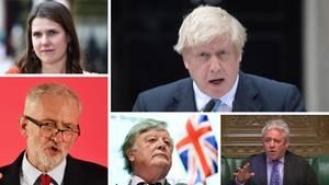 Im Uhrzeigersinn: Boris Johnson, John Bercow, Kenneth Clarke, Jeremy Corbyn, Jo Swinson