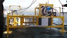 Das Bild zeigt eines der Gestelle des Boknis-Eck-Unterwasserobservatoriums