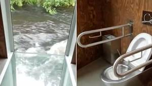 Collage: verglaster Boden mit Aussicht auf einen Fluss, Toilette