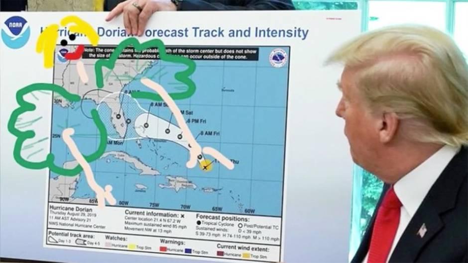 """Hurrikan """"Dorian"""": Streit um bemalte Wetterkarte: Twitter-User zeigen, wie Trump alle Probleme mit einem Stift lösen kann"""