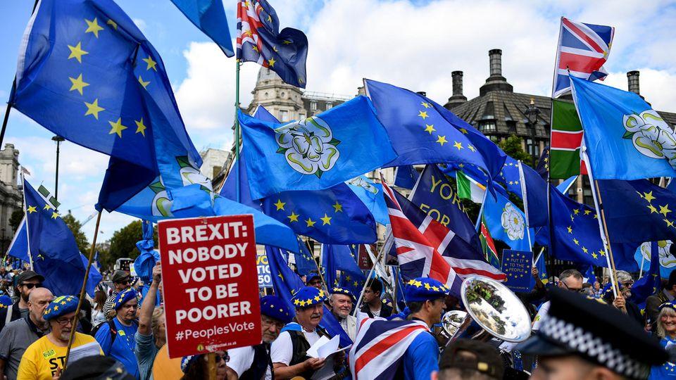 Anti-Brexit-Demonstranten versammeln sich in London.