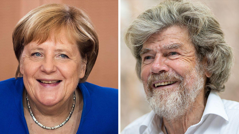 Angela Merkel und Reinhold Messner auf einer Bildcombo