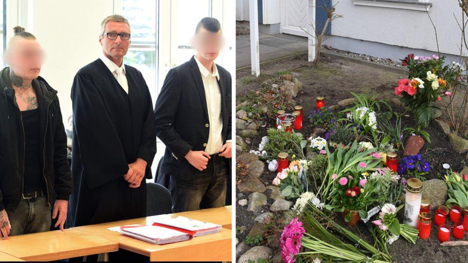 Die Mörder von Maria am Landgericht Stralsund; Blumen vor dem Haus auf Usedom