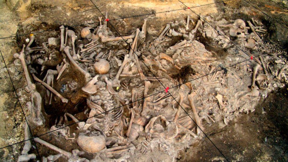 In der Grube wurde die Leichen erst nach lange nach ihrem Tod abgelegt.