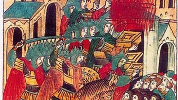 Zeitgenössische Darstellung der mongolischen Eroberung.