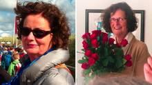 Patientin Angela S. mit einem Blumenstrauß in der Hand