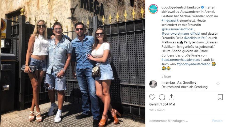 Michael Wendler und Chris Töpperwien posieren mit ihren Freundinnen