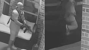 Aufnahme einer Überwachungskamera zeigt bewaffneten Mann