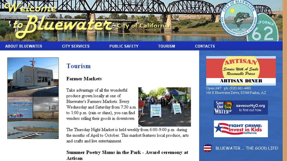 Die Homepage der angeblichen kalifornischen Kleinstadt Bluewater am 10. September 2009