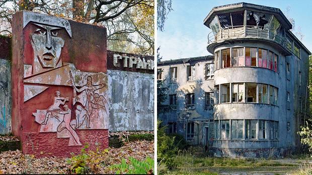 Collage: Denkmal; heruntergekommener, alter Flughafentower