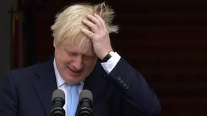 Boris Johnson beantwortet in Dublin Fragen von Journalisten