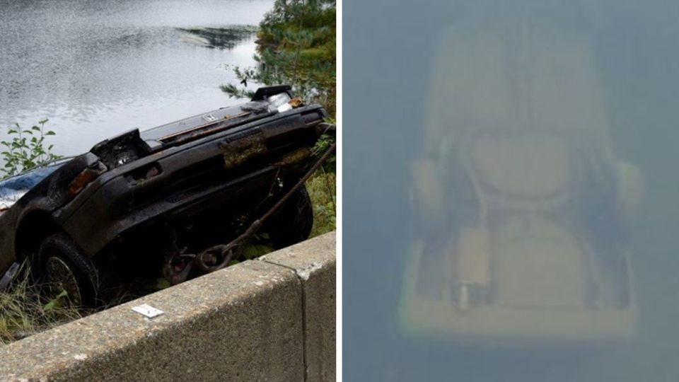 Collage: Auto im Wasser