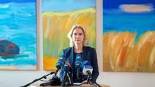 Manuela Schwesig bei ihrem Statement am Mittag in Schwerin