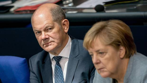 Bundesfinanzminister Olaf Scholz und Bundeskanzlerin Angela Merkel