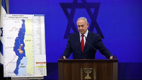 """Benjamin """"Bibi"""" Netanjahu stellt seine Annexions-Pläne auf einer Pressekonferenz vor"""