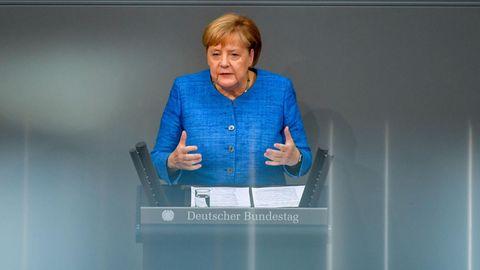 Bundeskanzlerin Angela Merkel (CDU) während der Generaldebatte
