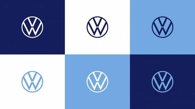 Das neue VW-Logo auf verschiedenen Farbuntergründen