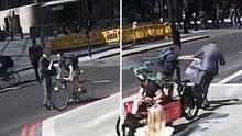 Londoner Radfahrer verpasst Fußgänger Kopfnuss