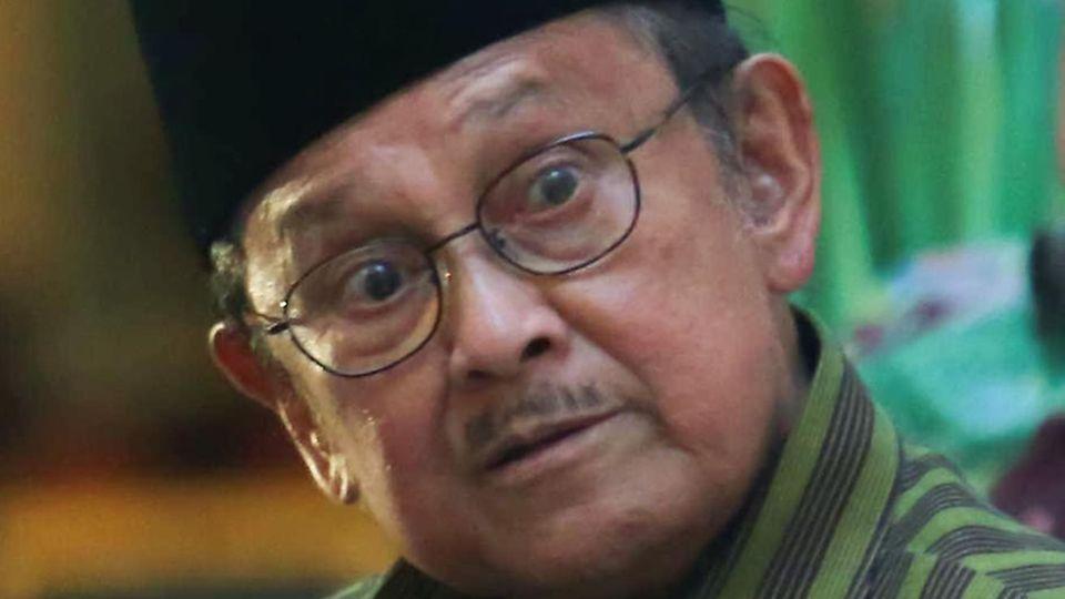 Indonesiens Ex-Präsident Habibie bei einer Rede imSeptember2016