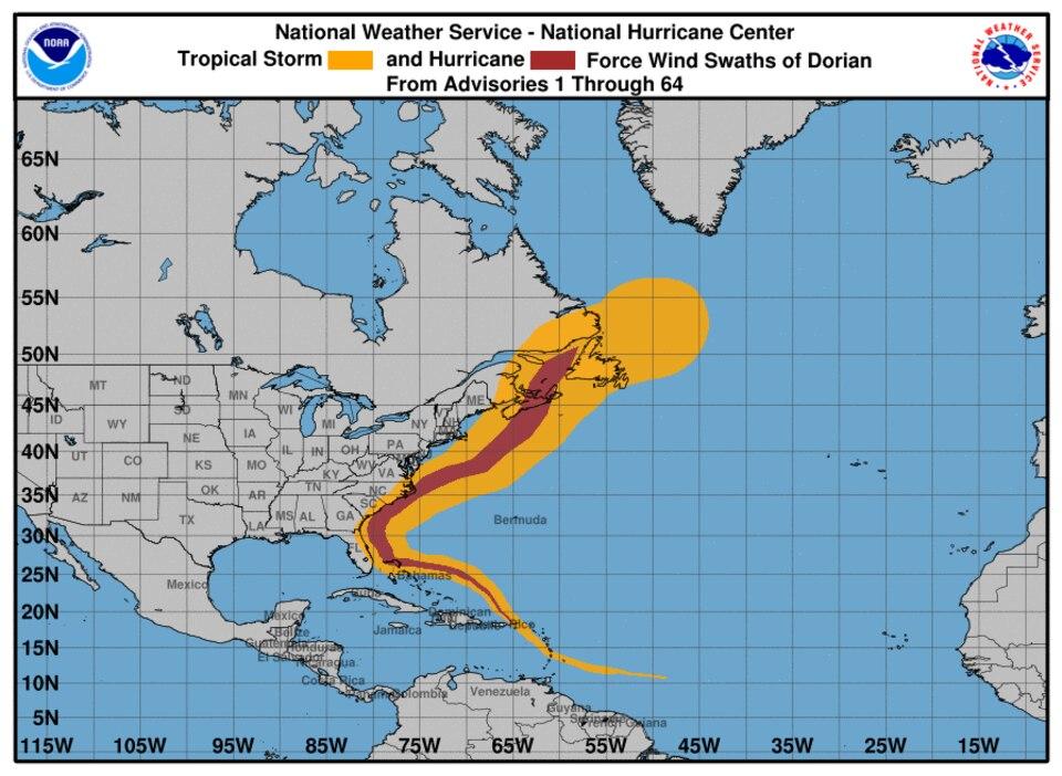NOAA-Grafik - Route von Hurrikan Dorian
