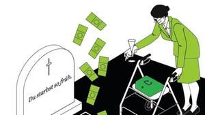 """Illustration: Ein Sarg, aus dem Geldscheine emporfliegen. Auf dem Grabstein steht """"Du starbst so früh"""". Die Witwe trinkt Sekt."""