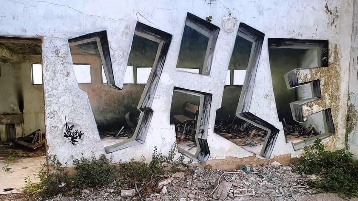 Optische Täuschung: Graffiti oder Realität? Sprayer irritiert mit verblüffender Illusion