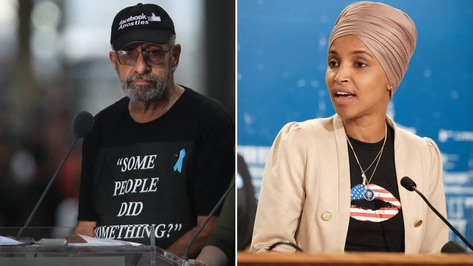 Bei der Jahrestagszeremonie von 9/11 in New York spricht Nicholas Haros Jr. und klagt Ilhan Omar an.