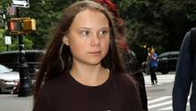 Greta Thunberg auf dem Wegzur «Society for Ethical Culture», um an einer Paneldiskussion teilzunehmen