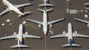 Produziert und wegen des Flugverbots nicht an die Airlines ausgeliefert: Boeing 737 Max auf dem Werksflughafen von Boeing in Renton.