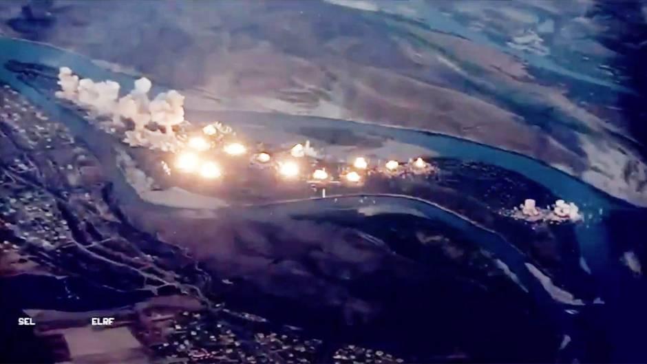 Irak: So sieht es aus, wenn die US-Luftwaffe 36 Tonnen Bomben auf eine IS-Insel wirft