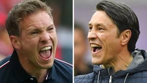 Das Spitzenspiel zwischen Leipzig und den Bayern ist auch in Duell der Trainer Julian Nagelsmann (l.) und Niko Kovac