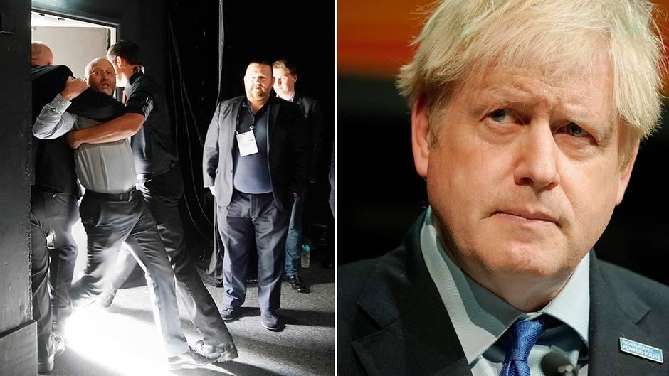 Britischer Politiker in Nordengland: Johnson spricht über politische Verantwortung – ein Zuhörer konfrontiert den Premier und wird rausgeschmissen
