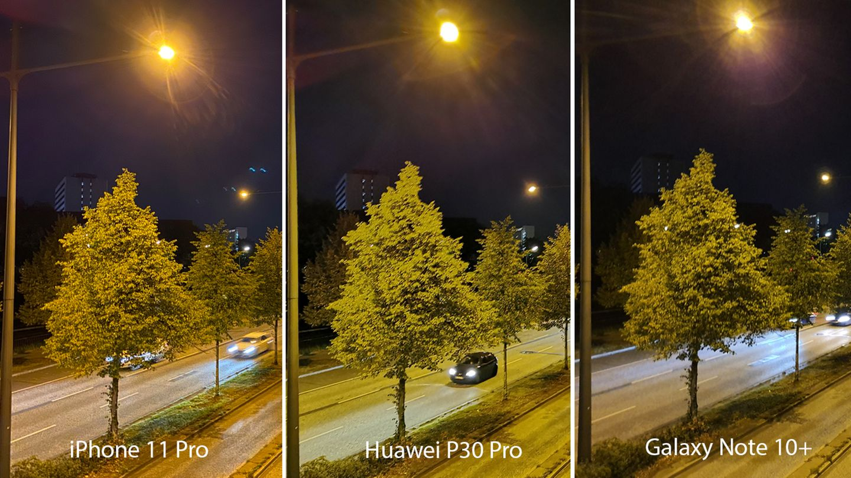 Apple vs Huawei vs Samsung an einer vielbefahrenen Straße. Auch hier hat das iPhone 11 Pro beim Detailgrad die Nase vorn. Der Nachthimmel wird vom Galaxy Note 10+ am besten getroffen.