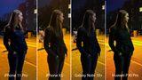 Nachts, eine Frau an der Straße, über ihr eine Laterne. Zugegeben: Das Motiv ist nicht ganz einfach. Zum Auftakt lassen wir deshalb vier Kameras gegeneinander antreten. Aufgenommen wurde jedesmal freihändig in der Automatik. Ganz links sehen wir das iPhone 11 Pro, daneben das Vorjahresmodell XS, dann das brandneue Galaxy Note 10+ und schließlich das Huawei P30 Pro.  Die Unterschiede sind frappierend: Das Huawei P30 Pro zeigt die Szeneriedeutlich zu orange, wie man am Gesicht und dem Zebrastreifen im Hintergrund erkennt. Auch der Detailgrad lässt zu wünschen, wie man an dem Fenster oben rechtssieht. Beim iPhone XS fehlen im Vergleich zum diesjährigen Modell die Details. Die Straße wirkt beim Pro deutlich plastischer, auch die Farbe des Mantels ist realistischer. Das Galaxy Note 10+ trifft die Gesichtsfarbe am besten, dafür wirkt der Mantel hier zu dunkel. Insgesamt ein Unentschieden zwischen Apple und Samsung.