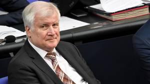 Horst Seehofer sitzt auf der Regierungsbank und schaut in die Kamera