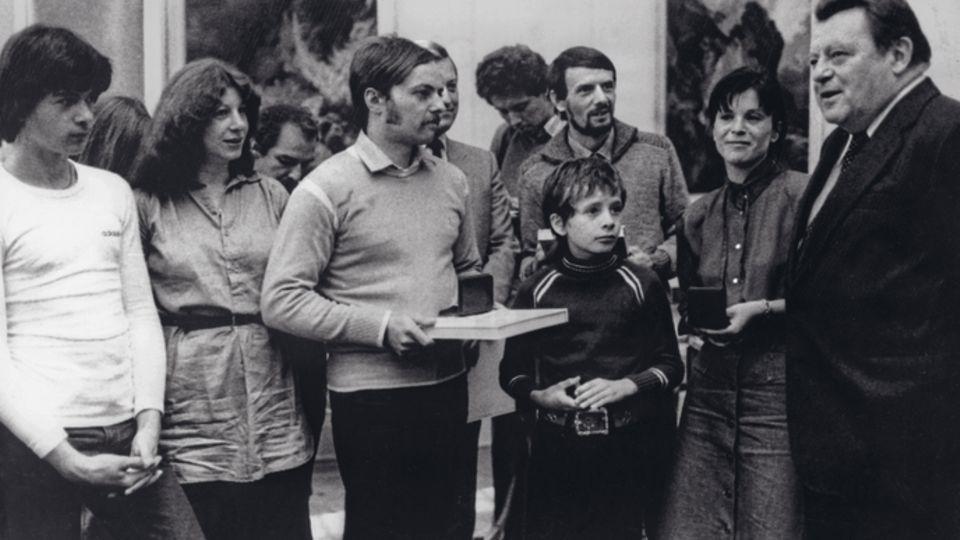 Die Flüchtlingsfamilien Strelzyk und Wetzel 1979 bei einem Empfang durch den Bayerischen Ministerpräsidenten Franz Josef Strauß