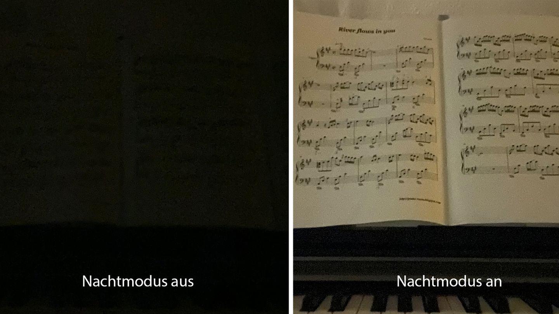 Was technisch möglich ist, zeigt dieses Beispiel: Links fotografierten wir das Notenblatt auf dem Klavier in einem stockdunklen Raum. Rechts mit aktiviertem Nachtmodus auf dem iPhone 11 Pro (Belichtungszeit 10Sekunden, Handmodus).