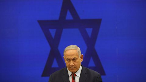 Benjamin Netanjahu, Ministerpräsident von Israel, spricht bei einer Pressekonferenz