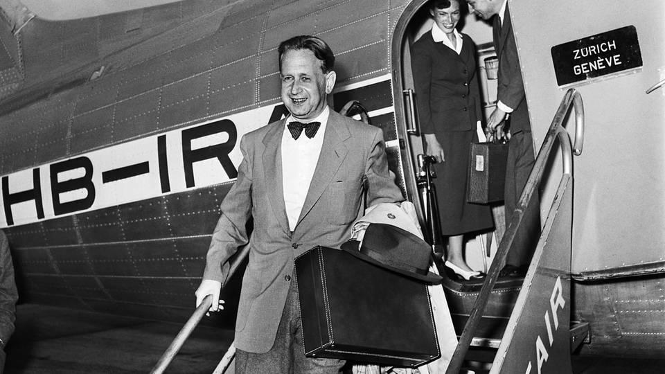 Vermittler in Konflikten in den 1950er Jahren: Der Schwede Dag Hammarskjöld,Generalsekretär der Vereinten Nationen von 1953 bis 1961.