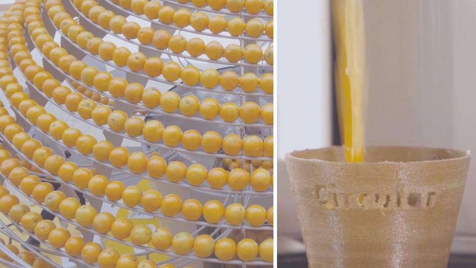 Nachhaltiges Projekt: Orangene Revolution: Diese Saftpresse druckt den Öko-Becher gleich mit