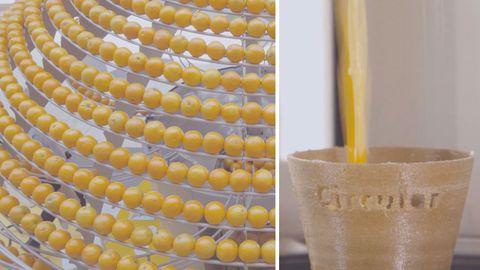 Die besondere Saftpresse fertigt aus Orangenschalen recyclebare Becher