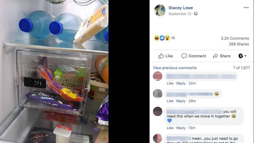 Sie haben ein Haus gekauft, sind verlobt, haben ein gemeinsames Kind – und dann das: ein Kühlschrank-Safe für die Süßigkeiten des Mannes. Sracey Lowe traf mit ihrem Facebook-Posting genau den Humor zigtausender Kommentatoren.