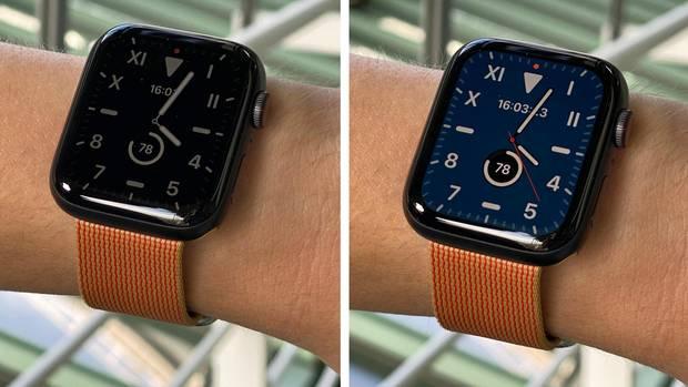 Links sehen wir die gedimmte Variante des neuen Always-On-Bildschirms, rechts die aktive Uhr.