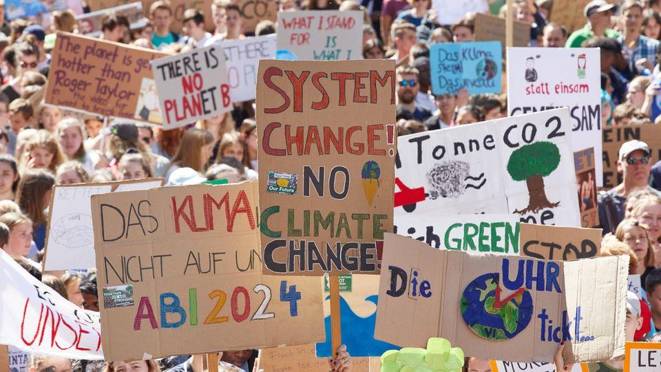 Plakate und Schilder auf einer Klima-Demonstration im Juni 2019 in Hamburg