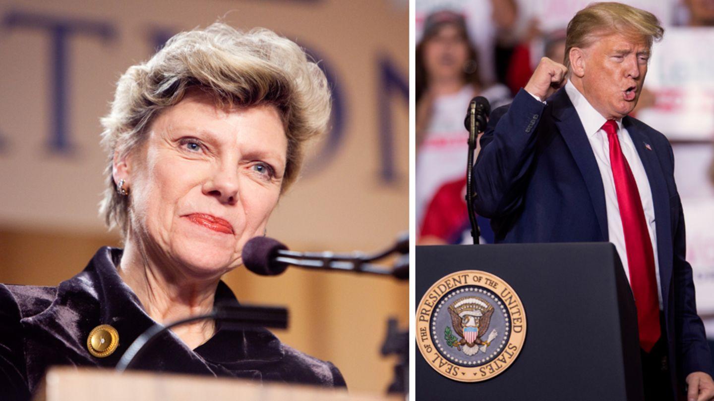 Cokie Roberts (l.) und US-Präsident Donald Trump